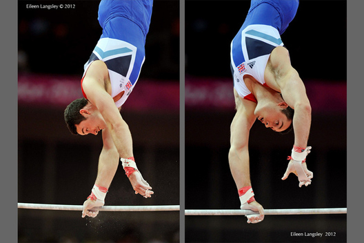 Kristian Thomas (Great Britain) competing on High Bar during the apparatus final competition at the 2012 London Olympic Games.