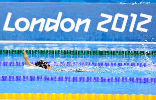 A generic image of a swimmer doing backstroke in front of the London 2012 logo at the swimming competition of the London 2012 Paralympic Games.