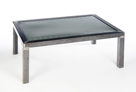 "Coffee table made from waxed steel tube and reclaimed industrial metal shelving. 40"" x 28"" x 16"""