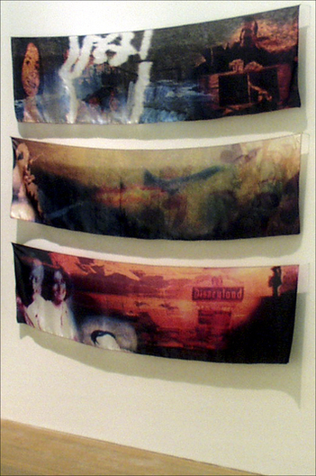 "Dye-jet print on habotais silk, each panel= 17"" x 72""