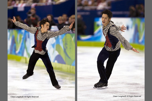 A double image of Bronze medallist Daisuke Takahashi (Japan) in action during his free programme at the 2010 Vancouver Winter Olympic Games.