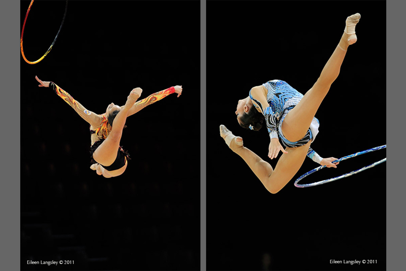 Natalia Garcia (left) and Carolina Rodriguez (right) from Spain, competing with Ball at the World Rhythmic Gymnastics Championships in Montpellier.