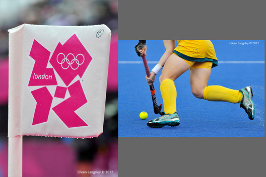 Generic images from a wet Women's Hockey match featuring a corner flag and an Australian player at the 2012 London Olympic Games.