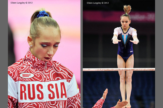 Viktoria Komova accepts defeat in the women's all around competition of the Gymnastics event at the 2012 London Olympic Games.