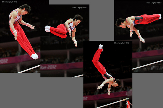 Kohei Uchimura (Japan) competing on High Bar during the men's team competition at the 2012 London Olympic Games.