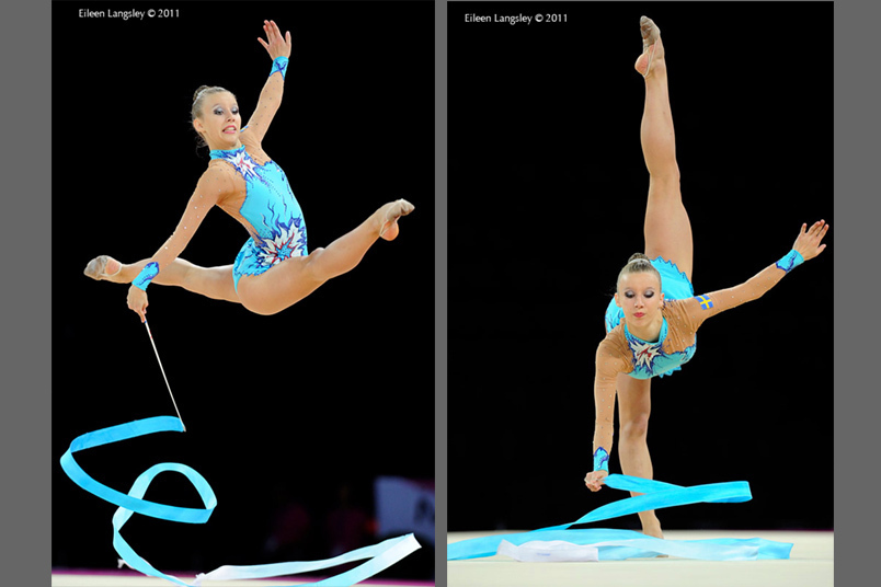 Anastassia Johansson (Sweden) competing with Ribbon at the World Rhythmic Gymnastics Championships in Montpellier.