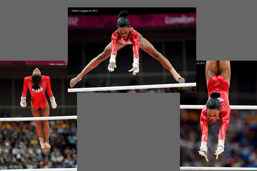 Gabrielle Douglas (USA) winner of the gold medal in the all around competition, competing on asymmetric bars at the Gymnastics competition of the London 2012 Olympic Games.