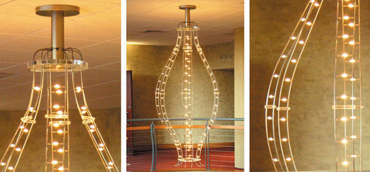 Low voltage xenon lamp and stainless steel rod custom feature lobby / main stair pendant