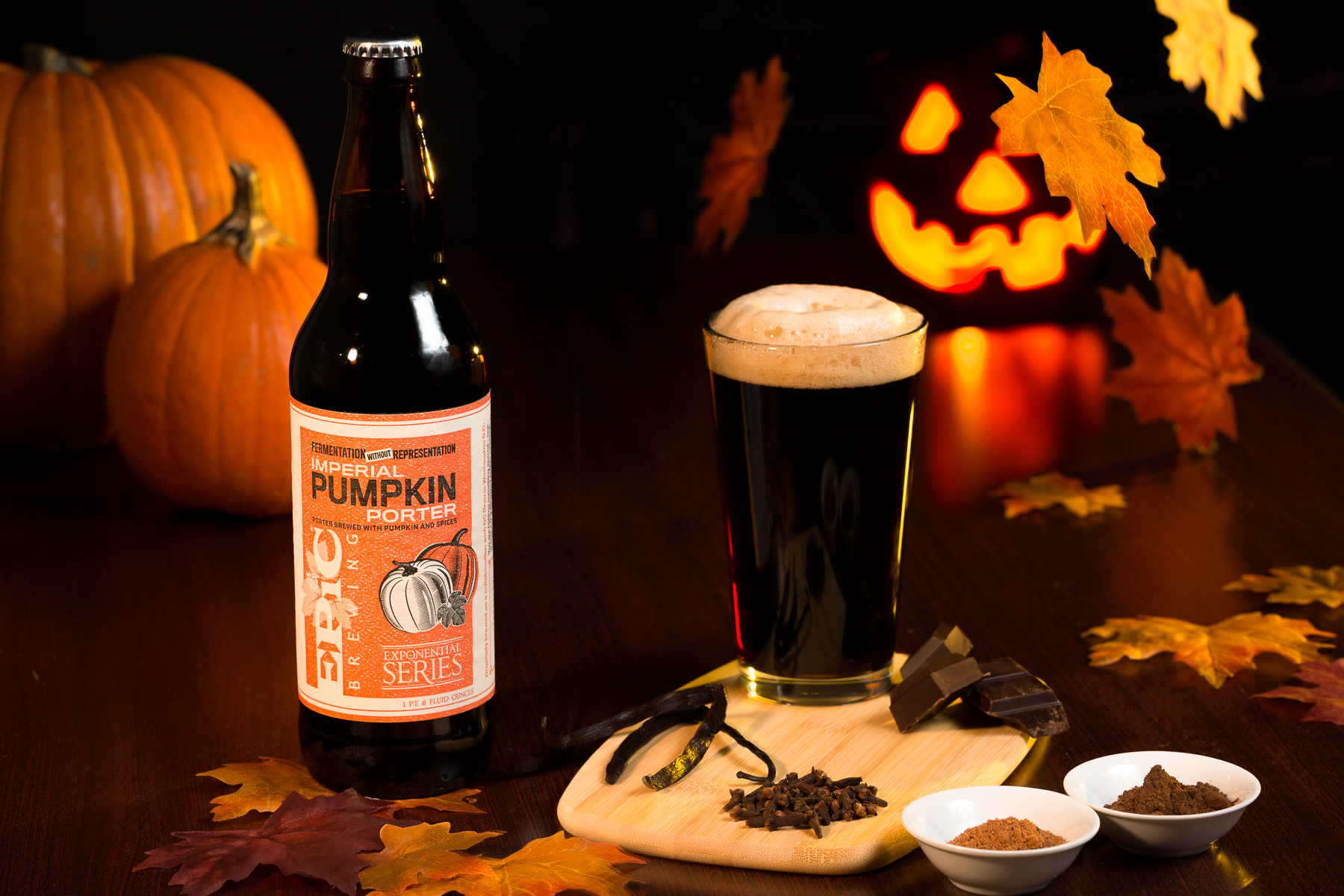 Fall-themed photos of epic brewing imperial pumpkin porter