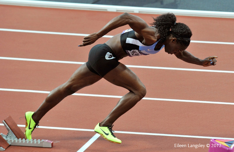 Amanti Montsho (Botswana) leaving the starting blocks during the 400 metres at the 2012 London Olympic Games.