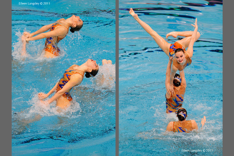 The Russian team during their routine at the 2011 European Synchro Champions Cup at the Ponds Forge International Sports Centre.