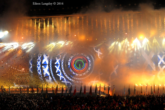 A Firework display at the Opening Ceremony at the 2014 Glasgow Commonwealth Games .