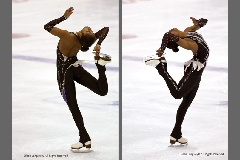 A double image of Tashe Smith Krup (Peterborough) performing a layback spin while competing at the 2009 British Figure Skating Championships in Sheffield November 23rd to 28th.