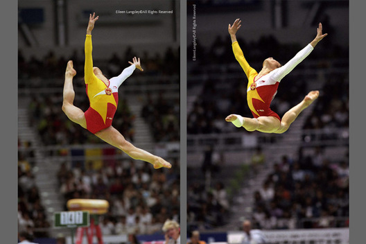 A double image of Chinese gymnasts Meng Fei (left) and Ma Yanling (right) performing spectacular leaps during their compulsory Floor Exercises at the 1995 Sabae World Gymnastics Championships.