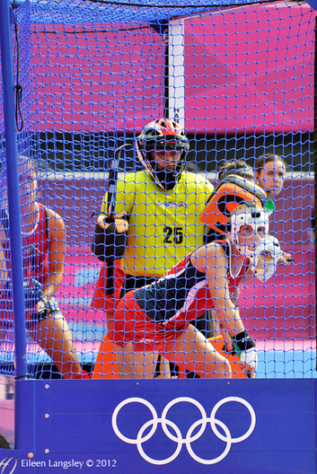 The United States women's Hockey team defenders during a penalty corner in theit match against Australia at the London 2012 Olympic Games.