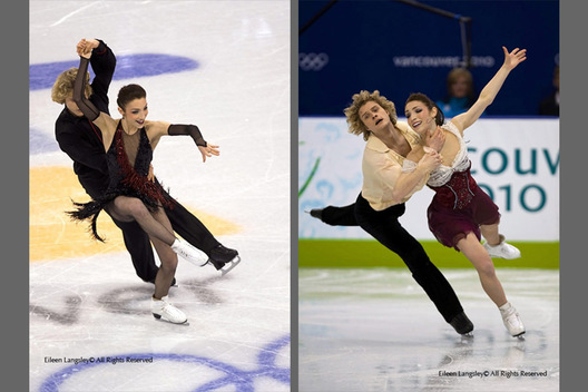 Meryl Davis and Charlie White (USA) in action during their Tango Romantica Compulsory Dance (left) and their Free Dance (right)  at the 2010 Vancouver Winter Olympic Games.