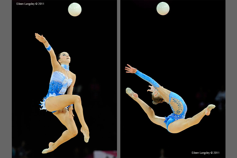 Lioubou Charkashyna (Belarus) left and Melitina Staniouta (Belarus) right, competing with Ball at the World Rhythmic Gymnastics Championships in Montpellier.