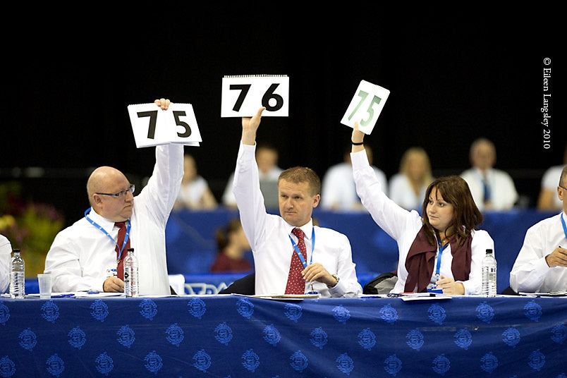 The panel of judges for Tumbling are seemingly in agreement at 2010 British Trampoline Championships at the National Indoor Arena Birmingham.