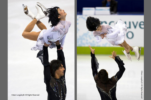 A double image of Yuko Kavaguti and Alexander Smirnov (Russia) competing in the short programme of the Pairs Figure Skating competition at the 2010 Vancouver Winter Olympic Games.