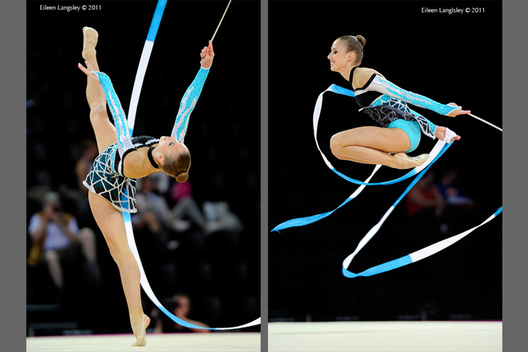 Shelby Kisiel (USA) competing with Ribbon at the World Rhythmic Gymnastics Championships in Montpellier.