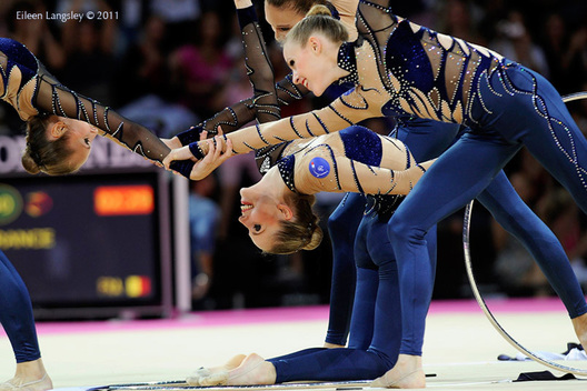 The group from France competing at the World Rhythmic Gymnastics Championships in Montpellier.