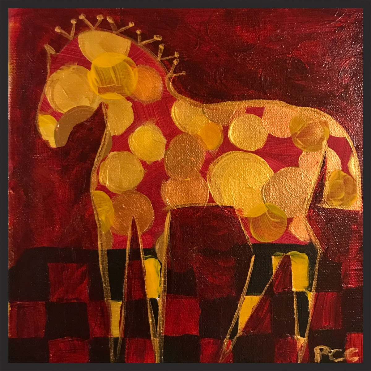 SOLD.  8x8 acrylic on wrapped canvas.  Collaborative piece.  Background by Stacie Burgess