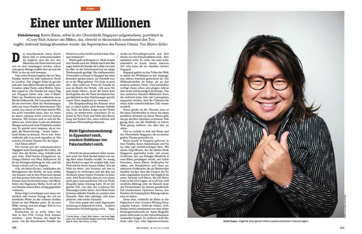 Kevin Kwan, author of Crazy Rich Asians for Der Spiegel