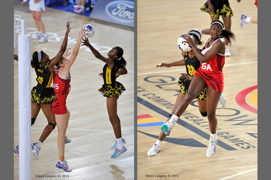England's Janne Horten and Kadeen Corben fight for control of the ball during their match against Jamaica at the Netball competition of the 2014 Glasgow Commonwealth Games.