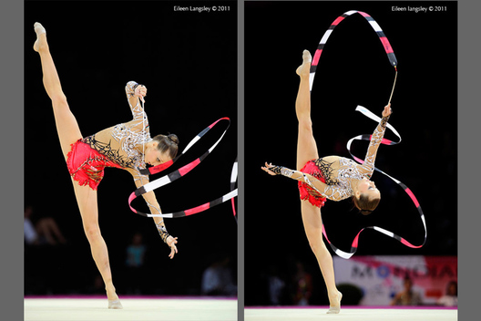 Sylviya Miteva (Bulgaria) competing with Ribbon at the World Rhythmic Gymnastics Championships in Montpellier.