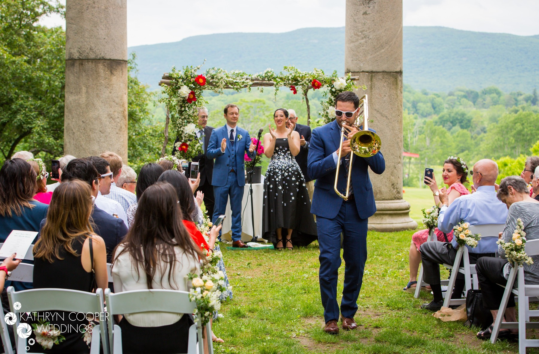 Storm King Art Center wedding photographer with New Orleans band and trombone player