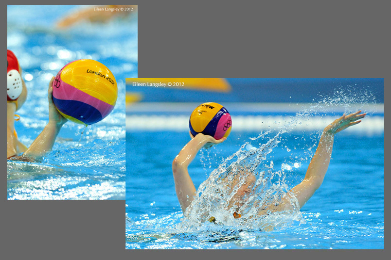 Generic images of players about to throw the ball in a women's water polo match at the 2012 London Olympic Games.