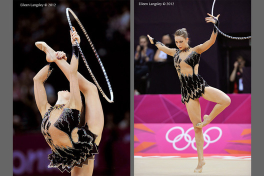 Frankie Jones (Great Britain) competing with Hoop during the Rhythmic Gymnastics competition of the London 2012 Olympic Games.