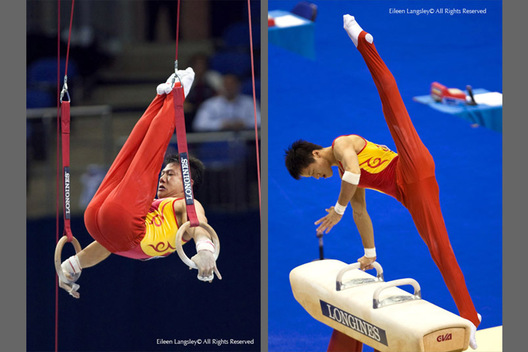 A double action image of Chinese gymnasts Chen Yibing left on the Rings Zhang Hongtao right on the pommel horse competing on Pommel Horse showing real style and technique at 2009 London World Artistic Gymnastics Championships at the 02 arena.