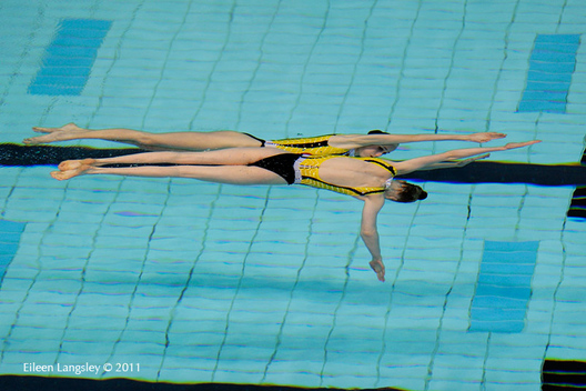 Lolita Ananasova and Anna Voloshyna (Ukraine) compete in the Duet section of the European Synchro Champions Cup atPonds Forge International Sports Centre in Sheffield May 2011.