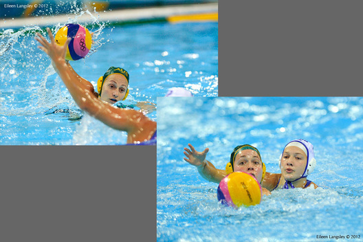 Australia and Russia fight it out in their Water Polo match at the London 2012 Olympic Games.
