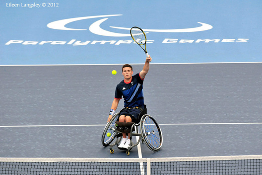 Gordon Reid (Great Britain) competing in the men's singles of the Wheelchair Tennis competition at the London 2012 Paralympic Games.
