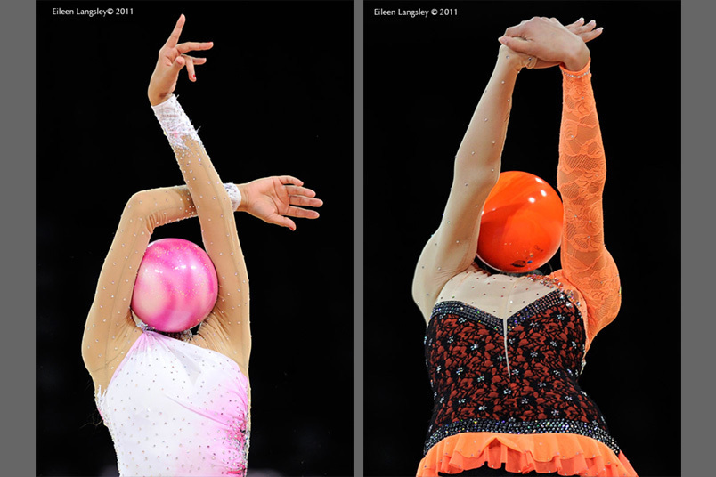 Generic images of gymnasts supporting the Ball on the front and back at the start of their routines at the World Rhythmic Gymnastics Championships in Montpellier.
