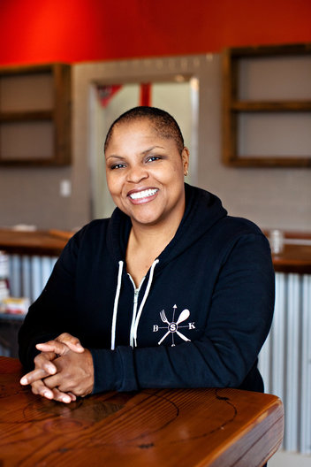 Editorial portrait of chef Tanya Holland by commercial photographer Nancy Rothstein