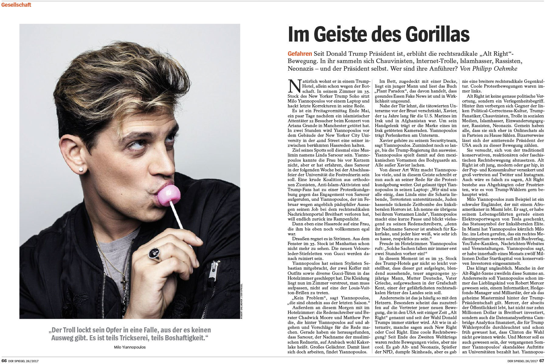 Milo Yiannopoulos and the Alt- Right for Der Spiegel