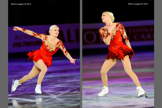 Viktoria Helgesson (Sweden) performs a routine in the exhibition at the 2012 European Figure Skating Championships at the Motorpoint Arena in Sheffield UK January 23rd to 29th.