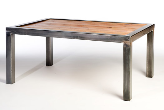 Table with wood insert panel