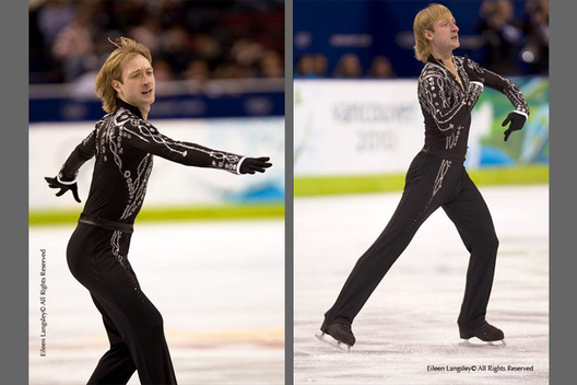 Evgeni Plushenko (Russia) competing in the short programme of the men's Figure Skating competition of the 2010 Vancouver Winter Olympic Games.