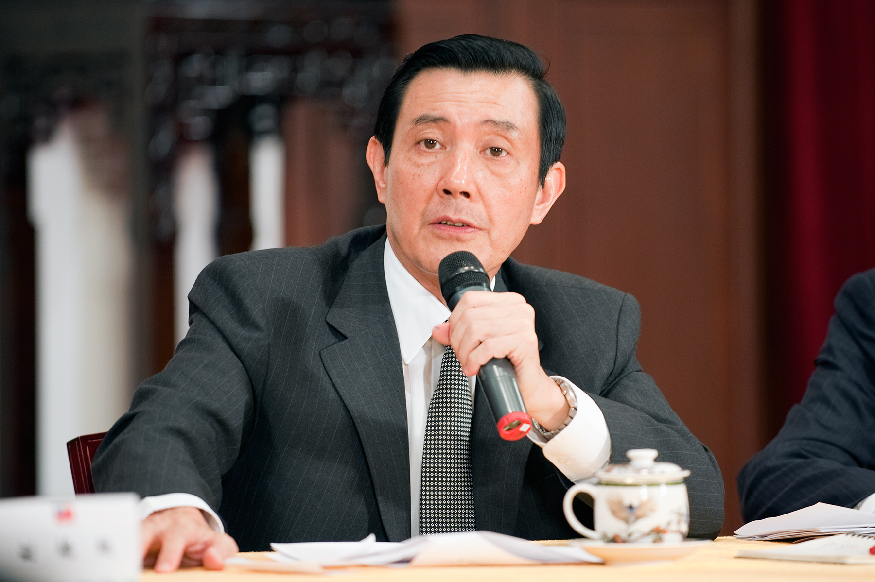 Republic Of China (Taiwan) President Ma Ying-jeou speaks in a press briefing in Taiwans Presidential Building, Taipei, Taiwan, Tuesday, August 8, 2009 addressing the issues regarding typhoon Morakot.