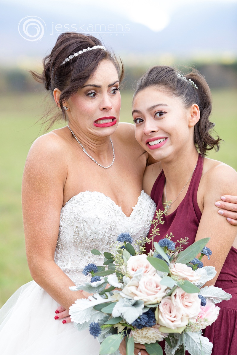bride and daughter are cold