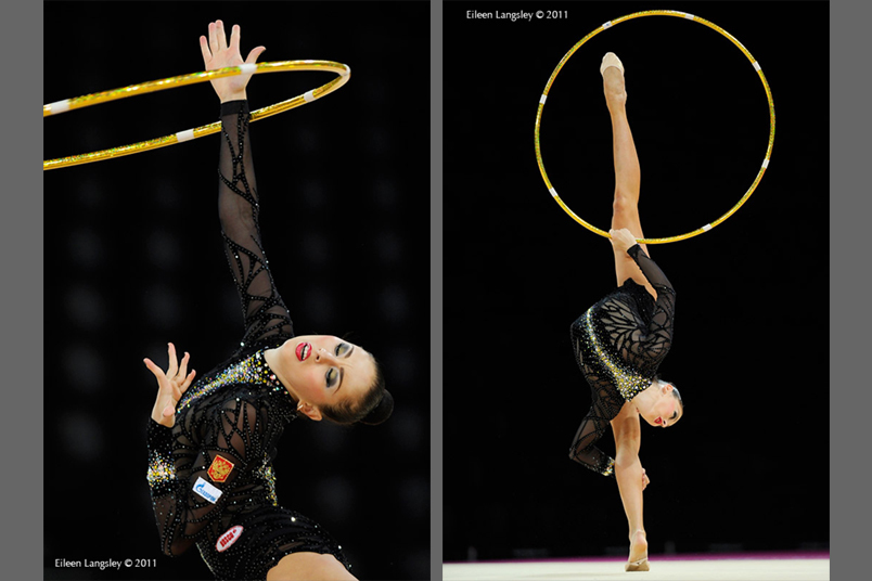 Daria Kondakova (Russia) competing with Hoop at the World Rhythmic Gymnastics Championships in Montpellier.
