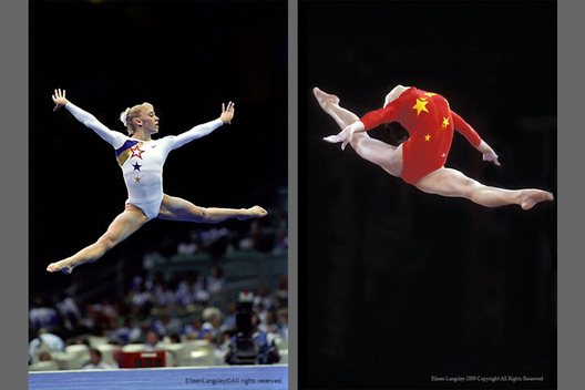 A double image of gymnasts Jaycie Phelps (USA) left and Li Li (China) right, caught mid air in artistic leaps during floor exercise and on the balance beam respectively.