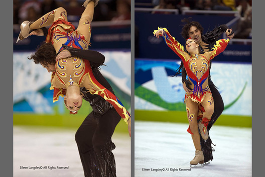A double image of Russian ice dancers jana Khokhlova and Sergei Novitski performing their 'Firebird' Free programme at the 2010 Winter Olympic Games in Vancouver.