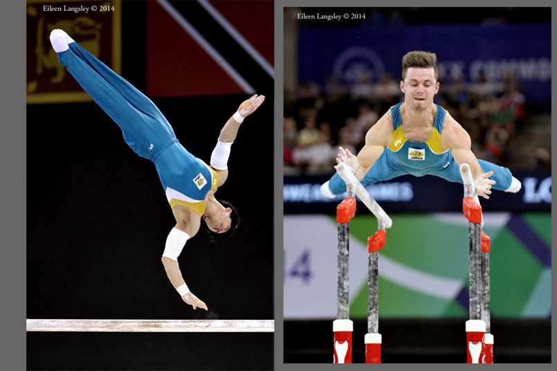 Naoya Tsukahara and Luke Wadsworth (Australia) competing on Parallel Bars at the 2014 Glasgow Commonwealth Games.