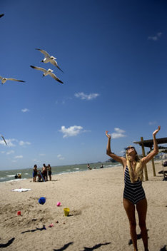 Chelsea Wilkerson enjoys a day in the sun at Corpus Christi Beach. 