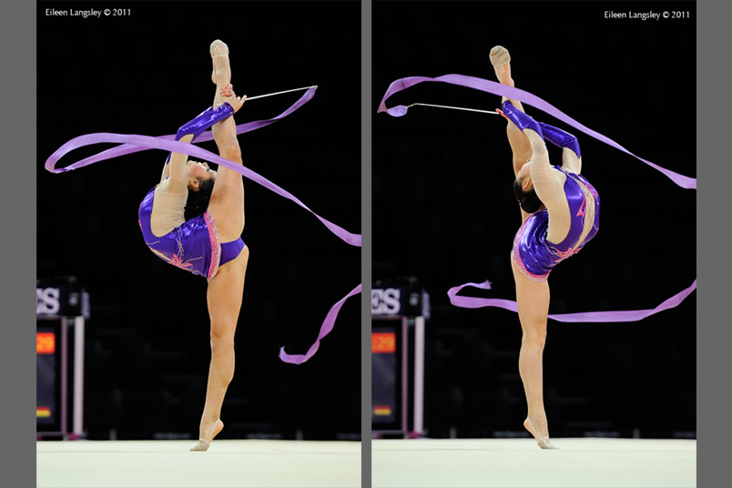 Nerissa Mo (Canada) competing with Ribbon at the World Rhythmic Gymnastics Championships in Montpellier.